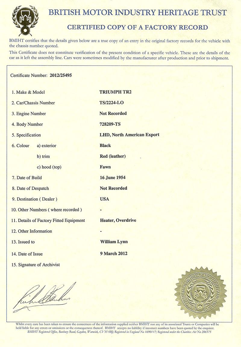 Trace Certificates Triumph Club Vintage Triumph Register